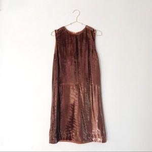 Rochas Pink-Brown Metallic Velvet Shift Dress